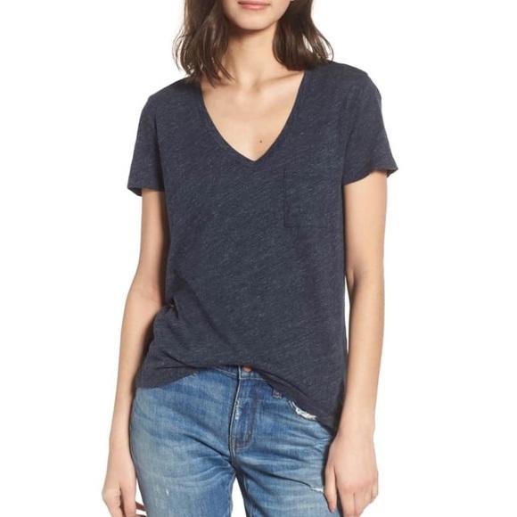 25362ab184d803 Madewell Tops - Madewell Whisper Cotton V-Neck Pocket T-Shirt Blue